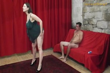 Busty MILF agent whore seduces a shy beginner guy from mature striptease