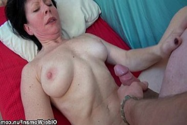 Grandma wants your cum on her old tits from giant woman
